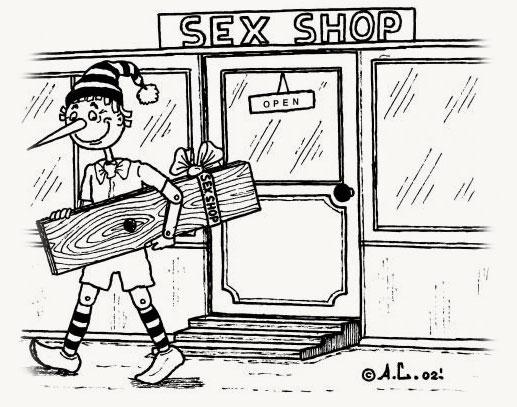 Pinocho de visita en el sex shop